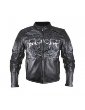 Xelement Men's Reflective Evil Triple Flaming Skulls Cruiser Armored Motorcycle Jacket