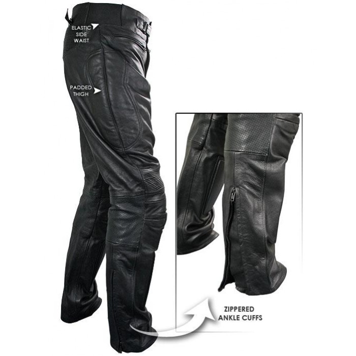 Armored Leather Motorcycle Jacket >> Xelement Men's Armored Cowhide Leather Racing Pants