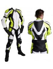 Neon Green Leather Motorbike Racing Suit