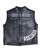 SOA Men's Sons of Anarchy Leather Motorcycle Biker Vest (Free Worldwide Shipping)